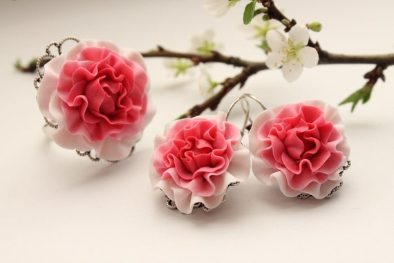 White and Pink flowers Rose earrings and ring set, free shipping