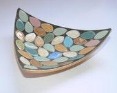 Vintage glazed leaf tile dish or ashtray