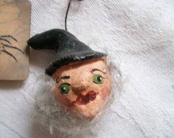 Halloween Spooky Folk Art Witch Ornament