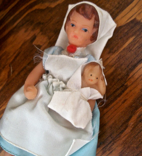 Vintage Miniature Rubber Nurse W Baby Doll