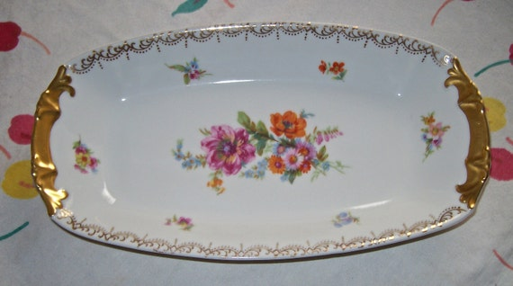 Antique Czech Floral China Relish Olive Tray  / Epiag Aich