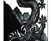 hand pulled intaglio card, dragon