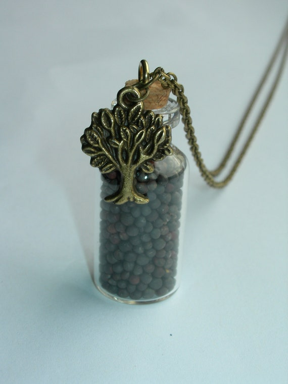 """31"""" Long Christian Necklace: Mustard Seed Bottle with Tree (Antique Bronze) - Clasp"""