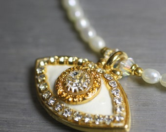 White and Gold Evil Eye Necklace w/ Crystals and Pearls