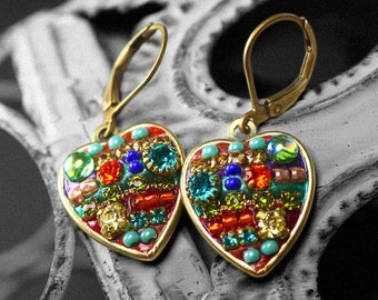 Small Heart Encrusted With Multi-colored, Bright Crystals Earring