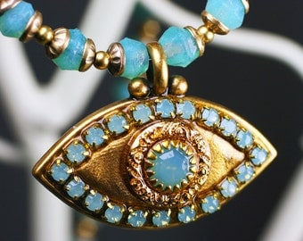 Michal Golan Gold Evil Eye Necklace Opal Center Handmade