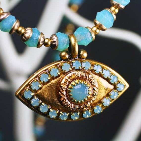 Michal Golan Gold Evil Eye Necklace Opal Center Handmade