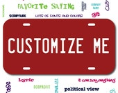 Plastic License Plate Burgundy Car Tag Custom Personalized Vehicle Business Logo Monogram Engagement Announcement Wedding