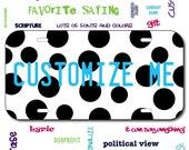 Plastic License Plate Polka Dot Car Tag Custom Personalized Vehicle Business Logo Monogram Engagement Announcement Wedding