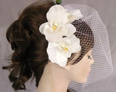 Bridal Fascinator with Birdcage Veil, Orchid Flower Decorated Head  Piece for Beach  Weddings. Handmade. unique design