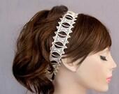 Bridal Headband, Beaded Cream Ivory Eyelet Lace Ribbon, Boho Weddings Head Piece . Handmade
