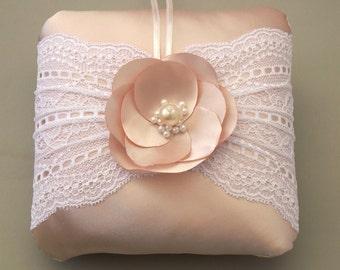 Ring Bearer Pillow Pastel Pink Bridal Lace Weddings Cushion, Unique Design, Rose Quartz Wedding