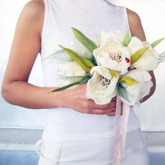 Weddings bridal bouquet fabric tulip flowers ivory cream handmade unique item ooak
