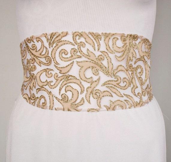Weddings Dress Belt, Bridal Obi Sash, Peach Blush Glittered Fabric. Handmade and Unique Design