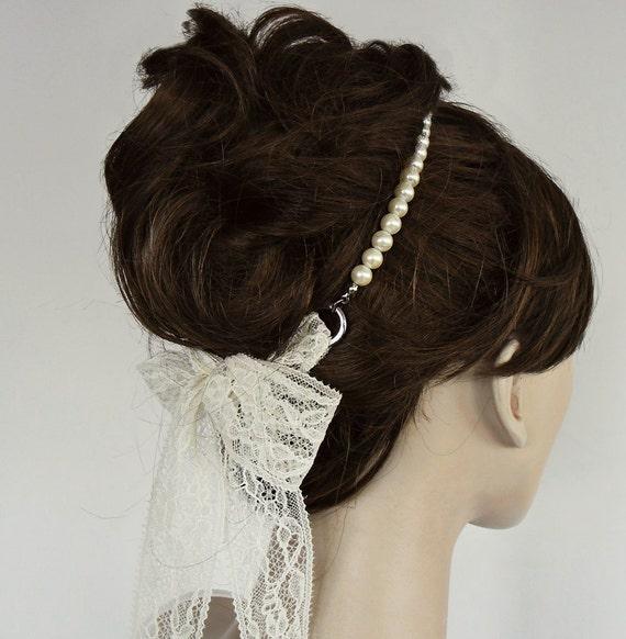 Pearl lace bridal headband tiara ivory cream handmade