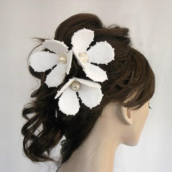 Bridal Flower Hairpiece, Weddings Hair Flower, White Magnolia, Romantic Rustic Wedding, Set of 3