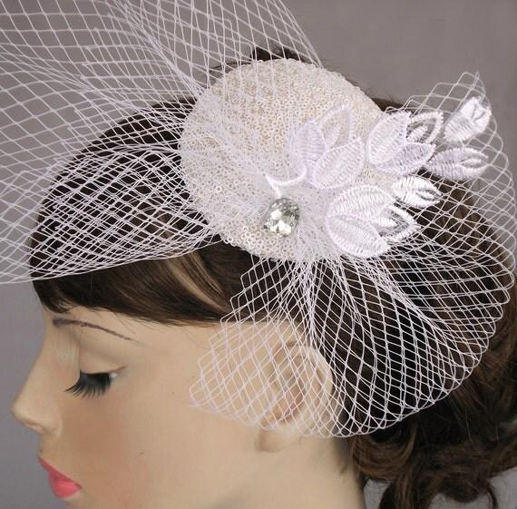 Fascinator Hat with Veil - Weddings Head Piece with Birdcage Veil Rhinestone Accent. Handmade and OOAK