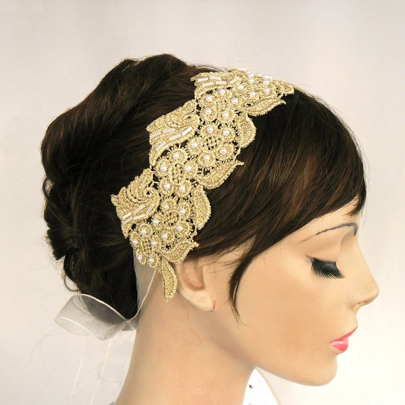 Gold Lace Bridal Weddings Headband in Roman Style Bridal Headpiece Art Deco Glam Modern Wedding Handmade Unique Design