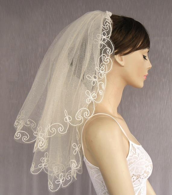 Ivory Blusher Veil Bridal Fascinator Made with Glittered Tulle in Waist Length. Handmade