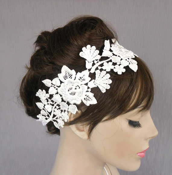 Lace bridal fascinator, weddings headband in venetian lace applique, pearl beads embroidered, handmade