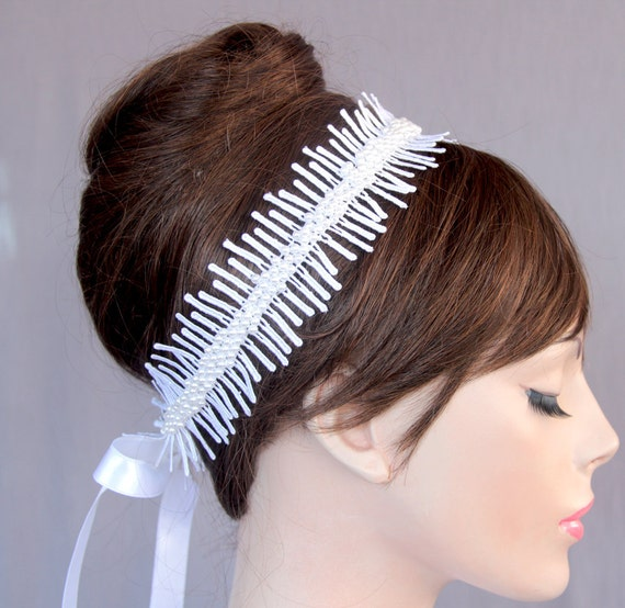Lace Bridal Ribbon Headband in Old Roman Style: Pearl Beaded Tiara - Bridal Sash Belt. Handmade.