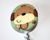 Retractable Badge Reel- Monkey Fabric Covered Reel