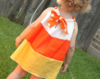 Candy Corn Dress-Fall-Halloween-Costume-Toddler Girl Infant Baby-Pillowcase Dress- Pre Order