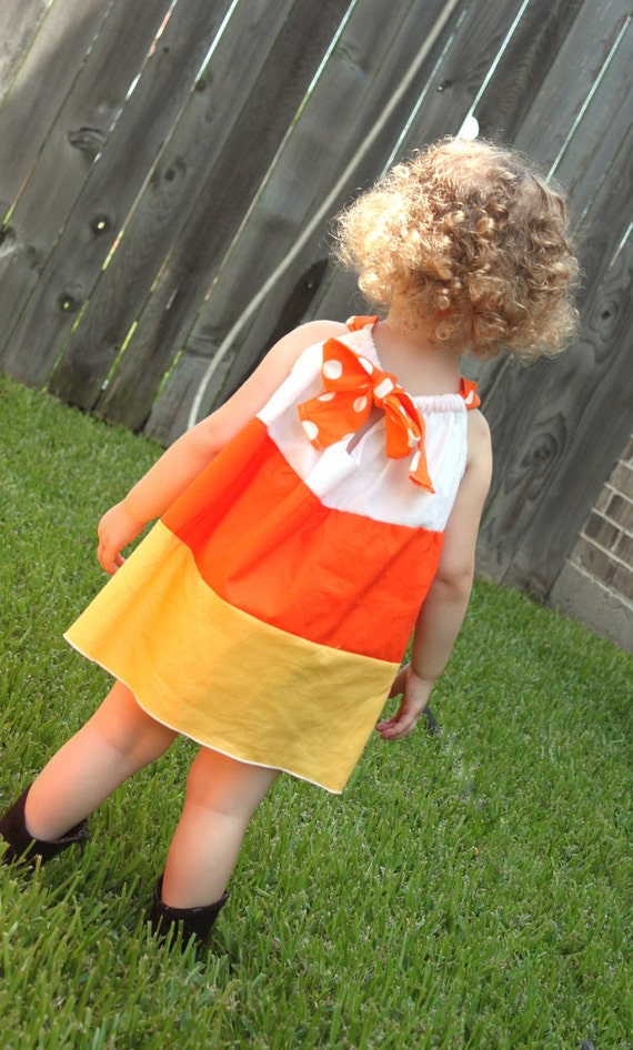 Candy Corn Dress-Fall-Halloween-Costume-Toddler Girl Infant Baby-Pillowcase Dress- Pre Order