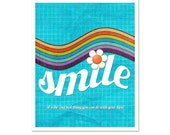 Smile - Turqoise Teal Rainbow Original Modern Digital Art Print - 8x10 Gifts Under 25