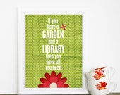 Typographic Poster A Garden & a Library Modern Original Print - Green Leaf Garden Red Flower Background Butterfly