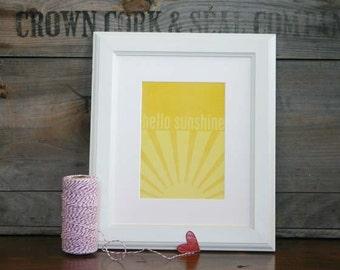 Sunshine Typography Art Print - Hello Sunshine Bright Sunny Yellow Wall Art