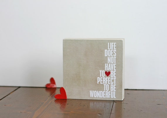 Wonderful Life Original Digital Print on Canvas Framed Cradled Birch Frame Beige White Red Heart Dots Lattee - 6x6