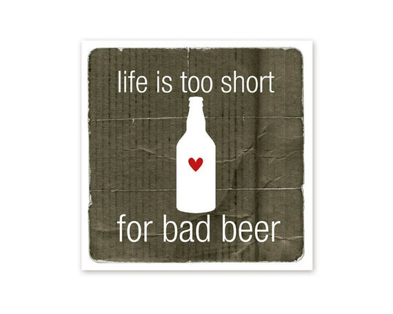 Beer Poster - Good Beer - Typography Art Print - Man Cave Decor For Him Black Brown Bottle Art