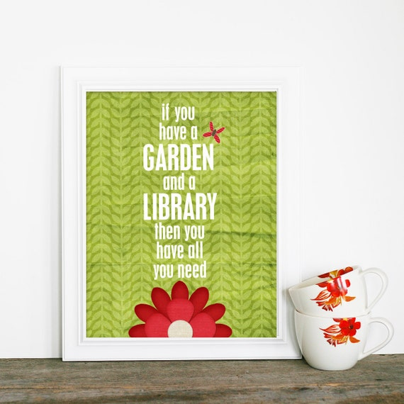 Typographic Poster A Garden & a Library Modern Original Print - Green Leaf Garden Red Flower Background Butterfly