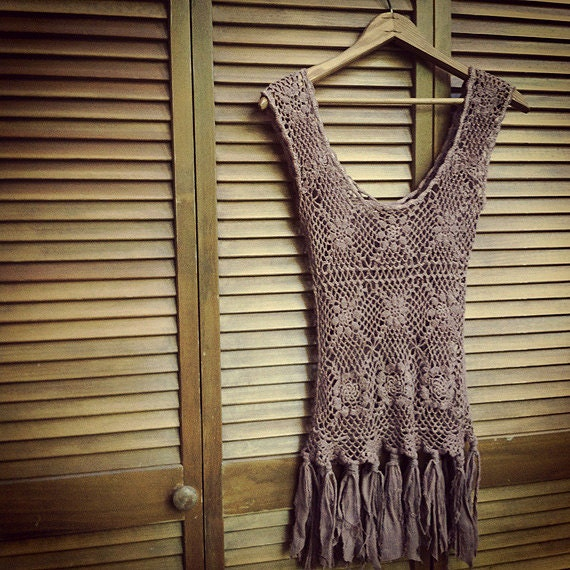 Bohemian Upcycled Crocheted Tank with Tattered Strips Vintage dyed