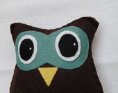Owl Tooth Fairy Pillow-chocolate brown and earthy greens