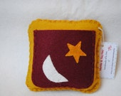 Mini Tooth Fairy Pillow in mustard yellow and dark red--READY TO SHIP