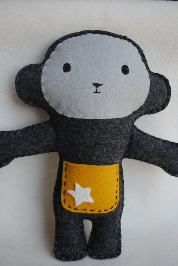 Cheeky Monkey-Tooth Fairy Pillow-Gray, Mustard with a white star