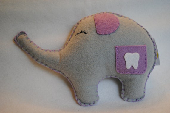 Tooth Fairy  Pillow-----Sweet Lil' Ellie Elephant, lavender and gray