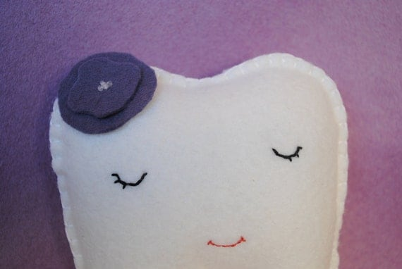Tooth Fairy Pillow shaped like a tooth--white, plum -girl