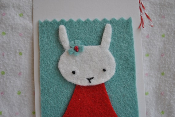Gift Tags--kitty, bunny, fox in aqua, red, and white, nursery decor