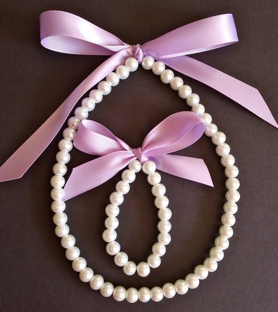 Custom Flower Girl Necklace and Bracelet Ivory or White Pearl Jewelry, Little girl necklace Pearl Necklace, Pearl Bracelet, Flower Girl Gift