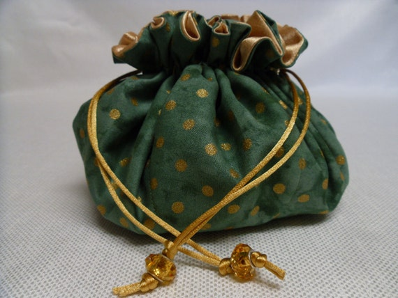 Green and Gold Polka Dot Jewelry Pouch