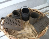 Vintage Rusty, crusty, tin kitchen utensils, for your primitive country decor