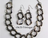 Vintage Large Link Necklace with Earrings