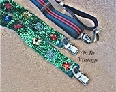 Vintage, Xmas Sequin Suspenders Sparkling Green and Red