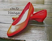 Vintage Cherry-Red Naturalizer Wedge Shoes 9 Wide