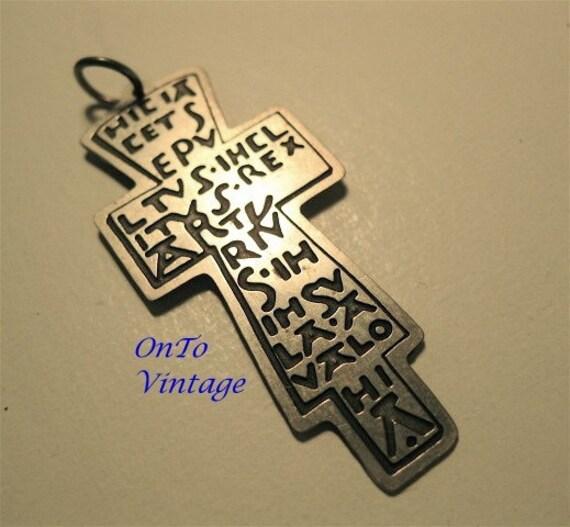 Vintage King Arthur, Latin Inscribed Cross Pendant, Silver