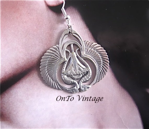 Vintage Silver, Rare Laurel Burch, Mirrored Bird. Dangle Earrings