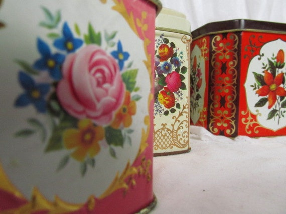 English Floral Tins Lot of 4